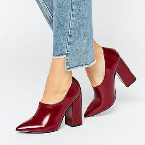 Daisy Street • Patent High Vamp Shoes Burgundy